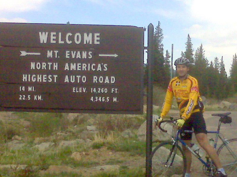 Chris at the entrance to Mt. Evans Park, CO